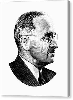President Harry Truman Profile Portrait - Black And White Canvas Print