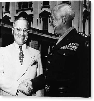 President Harry Truman, Shaking Hands Canvas Print