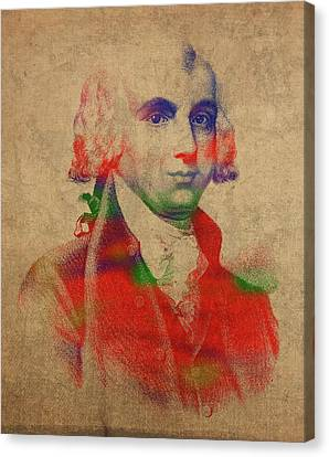 James Madison Canvas Print - President James Madison Watercolor Portrait by Design Turnpike