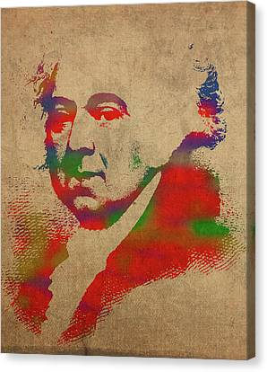 President John Adams Watercolor Portrait Canvas Print by Design Turnpike
