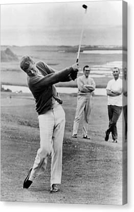 Tntar Canvas Print - President John Kennedy Playing Golf by Everett