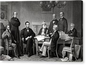Patriots Canvas Print - President Lincoln And His Cabinet by War Is Hell Store