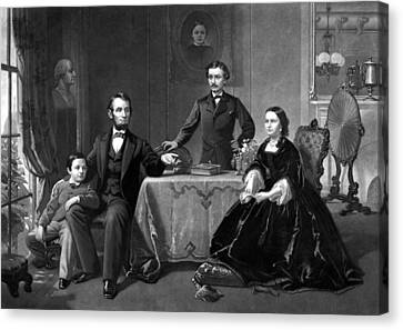 Patriots Canvas Print - President Lincoln And His Family  by War Is Hell Store