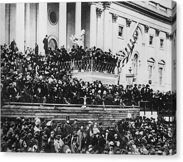 President Lincoln Gives His Second Inaugural Address - March 4 1865 Canvas Print by International  Images