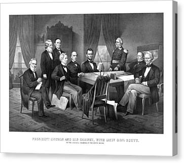 Salmon Canvas Print - President Lincoln His Cabinet And General Scott by War Is Hell Store