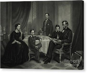 President Lincoln With His Family, 1861 Canvas Print by Science Source
