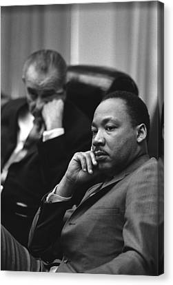 Democrats Canvas Print - President Lyndon Johnson And Martin by Everett