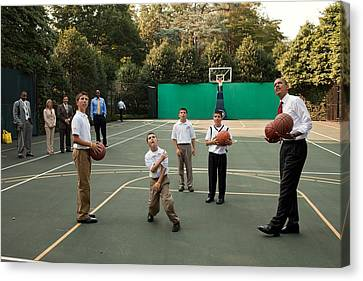 President Obama Watches As Justin Canvas Print by Everett