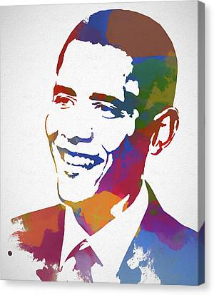 Obama Poster Canvas Print - President Obama Watercolor by Dan Sproul