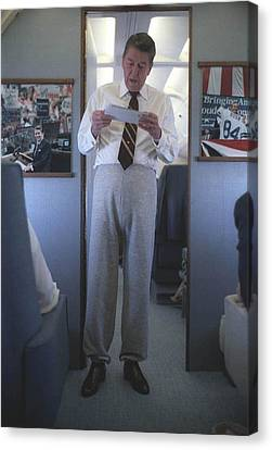 President Reagan Wearing Sweatpants Canvas Print by Everett