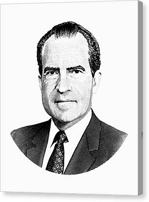 President Richard Nixon Graphic Black And White Canvas Print