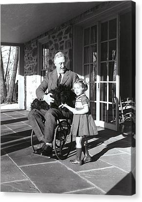 President Roosevelt In His Wheelchair Canvas Print by Everett