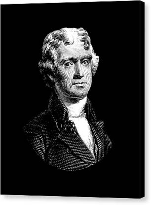 Founding Fathers Canvas Print - President Thomas Jefferson - Black And White by War Is Hell Store
