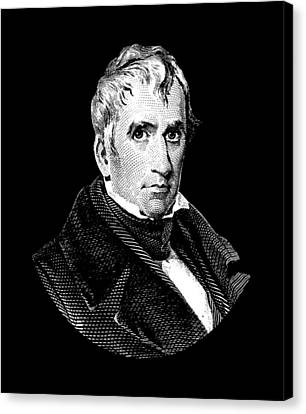 President William Henry Harrison Graphic - Black And White Canvas Print