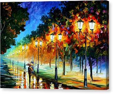 Prespective Of The Night Canvas Print by Leonid Afremov