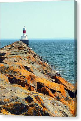 Presque Isle Lighthouse In Marquette Mi Canvas Print by Mark J Seefeldt