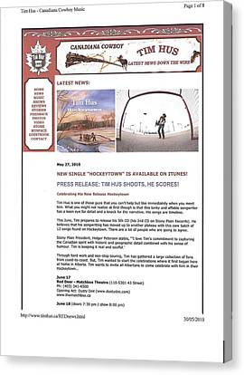 Press Release Carole Spandau Paints Cover Art For Hockeytown Cd By Tim Hus Canvas Print by Carole Spandau