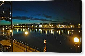 Preston Marina By Night Canvas Print by Leanne Millar