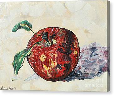 Canvas Print featuring the painting Pretty Apple by Reina Resto
