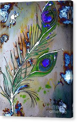 Canvas Print featuring the painting Pretty As A Peacock by Denise Tomasura