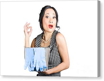 Pretty Asian Lady Giving Ok Gesture To Clean Canvas Print by Jorgo Photography - Wall Art Gallery