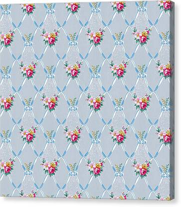 Canvas Print featuring the digital art Pretty Blue Ribbons Rose Floral Vintage Wallpaper by Tracie Kaska