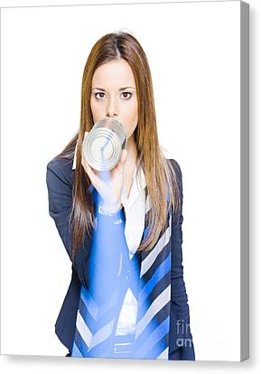 Pretty Business Woman Talking On Tin Can Phone Canvas Print