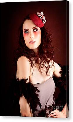 Pretty Glamour Fashion Girl On Red Backlight Canvas Print by Jorgo Photography - Wall Art Gallery