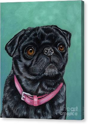 Pretty In Pink - Pug Dog Painting By Michelle Wrighton Canvas Print by Michelle Wrighton