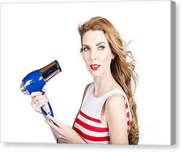 Youthful Canvas Print - Pretty Lady Getting A Blow Dry Hair Style by Jorgo Photography - Wall Art Gallery