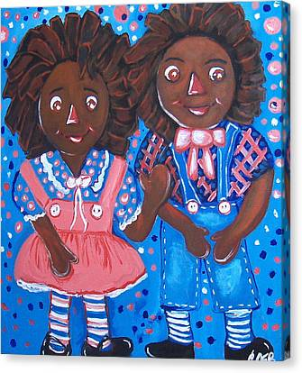 Pretty Peter And Penny Canvas Print by Clara Spencer