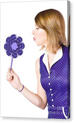 Pretty Pin Up Girl Playing With Purple Pinwheel Canvas Print
