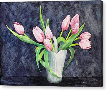 Pretty Pink Tulips Canvas Print by Dee Carpenter