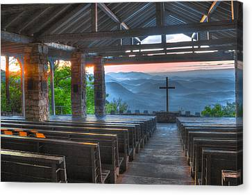 The Wooden Cross Canvas Print - Pretty Place Chapel New Dawn by Reid Callaway