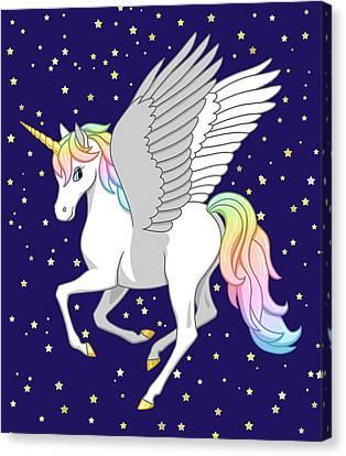 Pegasus Canvas Print - Pretty Rainbow Unicorn Flying Horse by Crista Forest