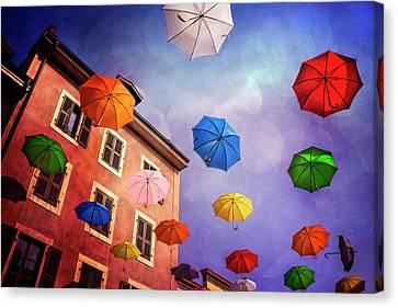 Suisse Canvas Print - Pretty Umbrellas In Carouge Geneva  by Carol Japp