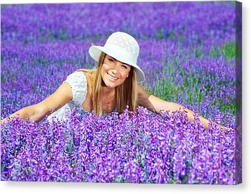 Pretty Woman On Lavender Field Canvas Print by Anna Omelchenko