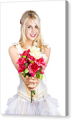Youthful Canvas Print - Pretty Woman With Flower Bouquet by Jorgo Photography - Wall Art Gallery