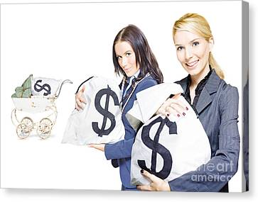 Pretty Young Business Women Holding Sacks Of Money Canvas Print