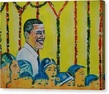 Prez Obama With Children Canvas Print by Usha Shantharam