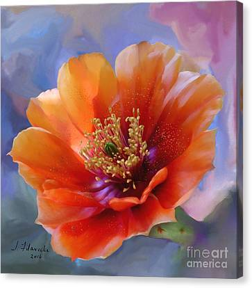 Prickly Pear Bloom Canvas Print by Judy Filarecki