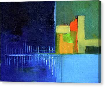 Canvas Print featuring the painting Primary Blue Abstract by Nancy Merkle