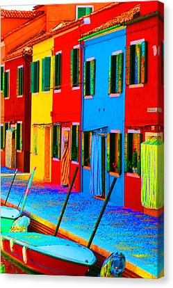 Canvas Print featuring the photograph Primary Colors Of Burano by Donna Corless