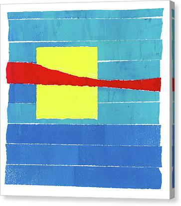Canvas Print featuring the photograph Primary Stripes Collage by Carol Leigh