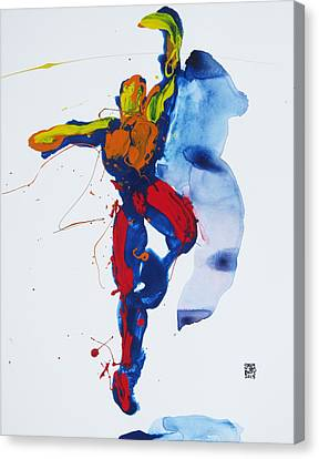 Canvas Print featuring the painting Primary Vertical Jump Shadow by Shungaboy X