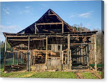 Primative Barn Being Dismantled Canvas Print