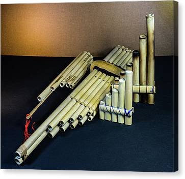 Primative Pan Pipes On Display Canvas Print