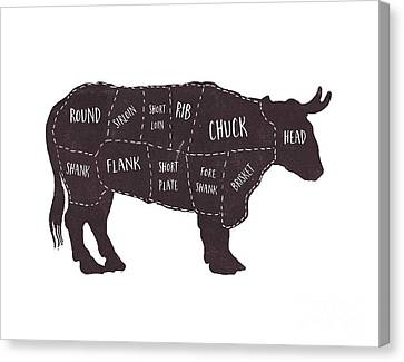 Primitive Butcher Shop Beef Cuts Chart T-shirt Canvas Print by Edward Fielding