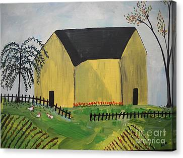Canvas Print featuring the painting Primitive Folk by Reina Resto