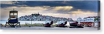 Primosten Boat Panorama, Dalmatian Coast, Croatia Canvas Print by Global Light Photography - Nicole Leffer